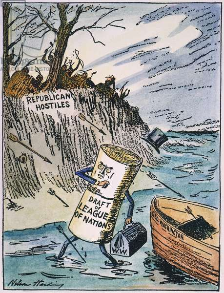 A PILGRIM LANDING IN AMERICA, 1919: contemporary cartoon by Nelson Harding depicting President Wilson's cherished League of Nations met by Republican hostilities upon reaching American shores.