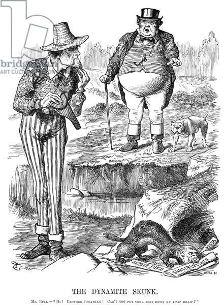 TERRORISM CARTOON, 1884 'The Dynamite Skunk.' English cartoon by Sir John Tenniel, 1884, on the repeated bombings in London, England, by Irish-American terrorists.