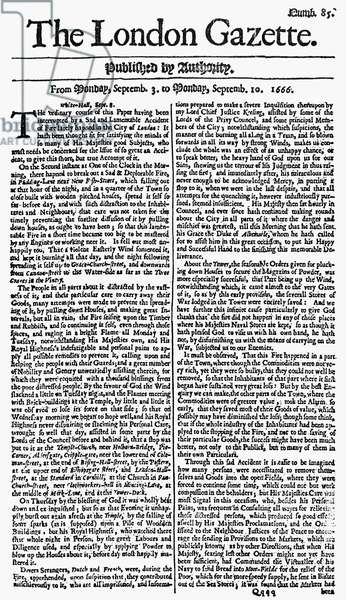 LONDON: GREAT FIRE, 1666 Front page of the 'London Gazette' from 10 September 1666, describing the Great Fire of London.