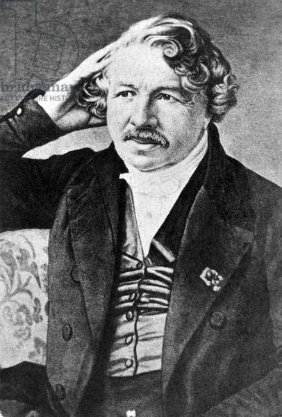 LOUIS DAGUERRE (1789-1851) Louis Jacques Mande Daguerre. French painter and inventor of the daguerreotype. Lithograph, 19th century, after a daguerreotype.