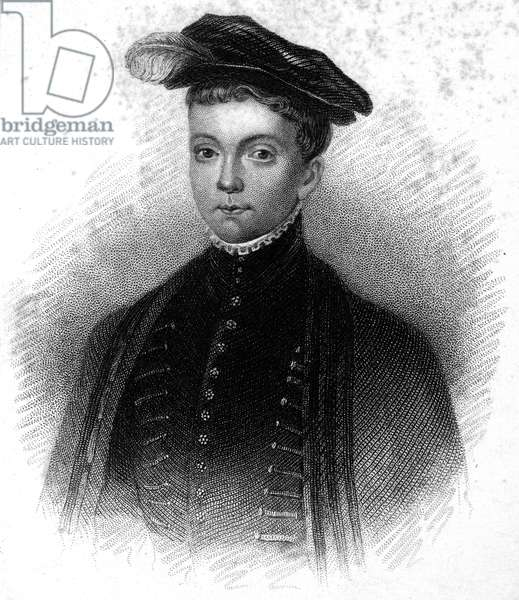 LORD DARNLEY (1545-1567) Scottish nobleman and consort of Mary, Queen of Scots. Lord Darnley as a boy. Line and stipple engraving, 19th century.
