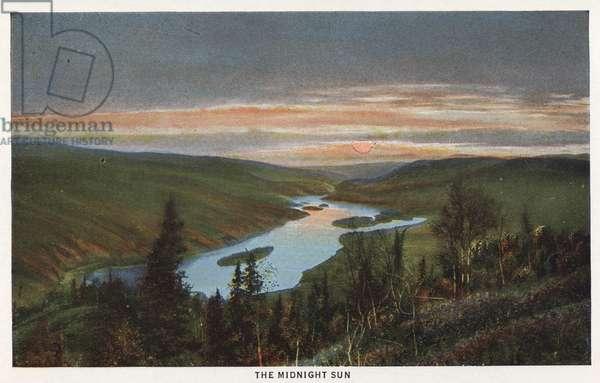 ALASKA: MIDNIGHT SUN The midnight sun in Alaska. Postcard, c.1938.