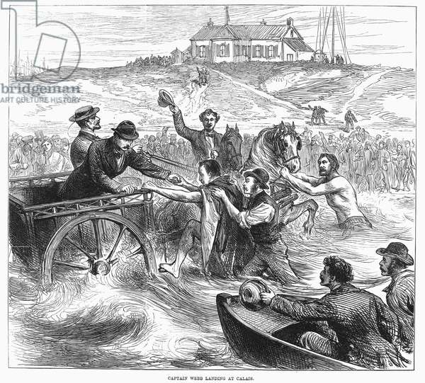 MATTHEW WEBB (1848-1883) English swimmer. Webb's arrival at Calais, France, on his second and successful attempt to swim the English Channel, 25 August 1875. Wood engraving from a contemporary English newspaper.