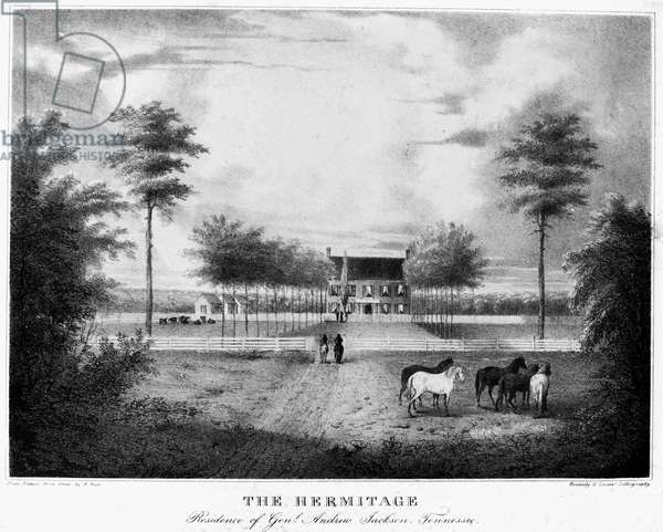 ANDREW JACKSON: HERMITAGE Andrew Jackson's home, 'The Hermitage,' near Nashville, Tennessee. Lithograph, c.1830.