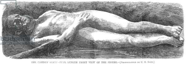 CARDIFF GIANT, 1869 The Cardiff Giant, one of the most famous hoaxes in American history, was a 10-foot-tall stone man 'discovered' on the Newell farm at Cardiff, New York, on 16 October 1869. Wood engraving from a contemporary, American, newspaper.