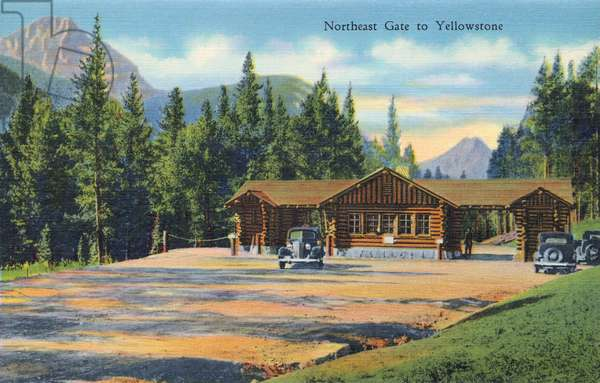 YELLOWSTONE NATIONAL PARK The Northeast Gate to Yellowstone National Park, Wyoming. Postcard, 1937.