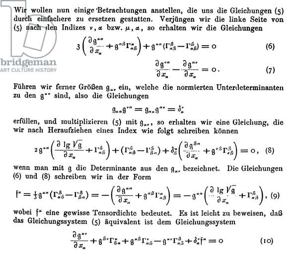 "ALBERT EINSTEIN: PAGE Detail from a page of Albert Einstein's ""Local Field Theory of Gravitation and Electricitat"", 1925."