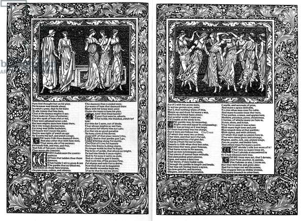 MORRIS: CHAUCER, 1896 Double-page spread from 'Chaucer,' designed by William Morris and Edward Burne-Jones and printed by the Kelmscott Press, 1896.