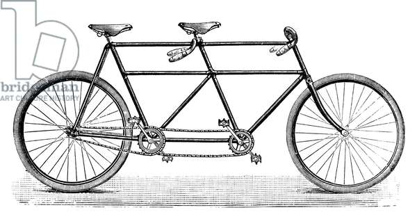 TANDEM BICYCLE, c.1900 Contemporary wood engraving.