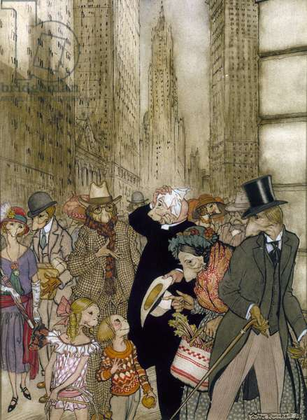 RACKHAM: CITY, 1924 Street scene in a city populated with imaginary animal-people. Illustration by Arthur Rackham, 1924.