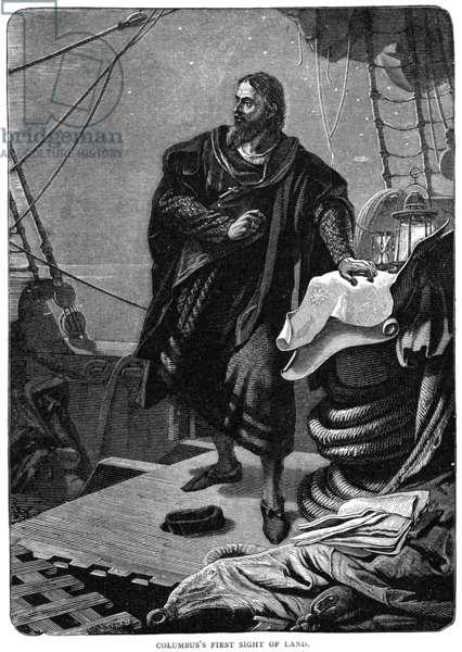 CHRISTOPHER COLUMBUS (1451-1506). Italian navigator. Wood engraving, 19th century.