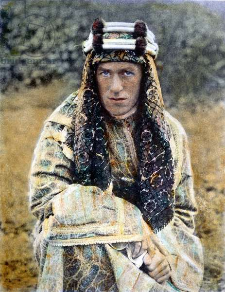 T.E. LAWRENCE (1888-1935) British archaeologist, soldier, and writer. Oil over a photograph, n.d.