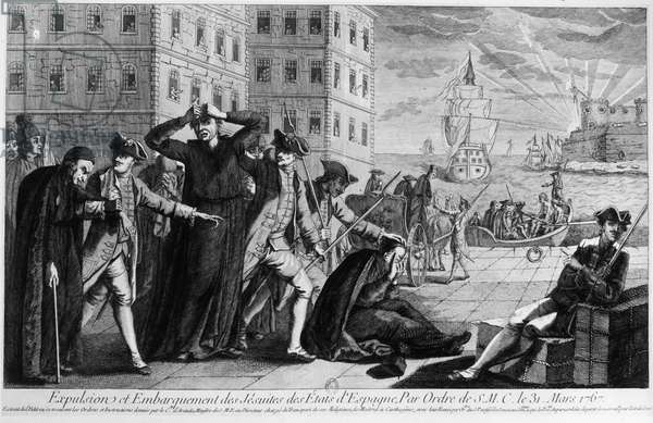 SPAIN: EXPULSION OF JESUITS Expulsion of the Jesuits from Spain, by order of King Charles III, 1767. Contemporary line engraving.