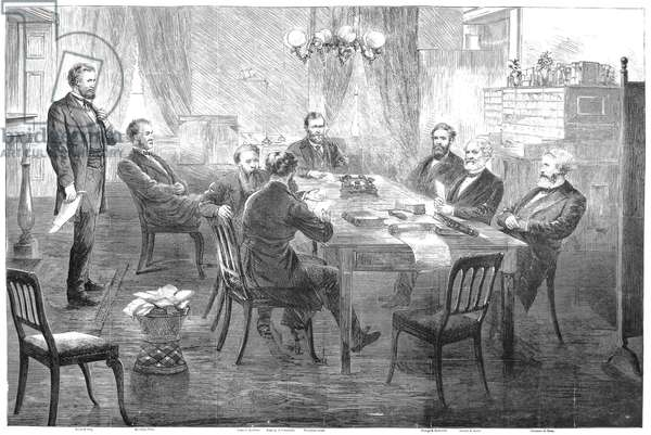 ULYSSES S. GRANT (1822-1885). 18th President of the United States. President Grant's cabinet in session. Wood engraving, 1869.