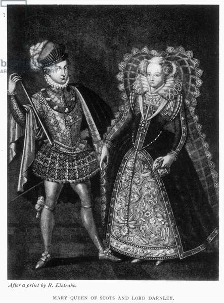 MARY, QUEEN OF SCOTS (1542-1587) With Henry Stewart, Lord Darnley. Mezzotint after R. Elstrake.