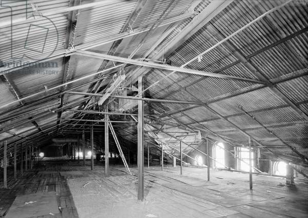 COLT FACTORY, 2005 Colt Firearms Company, attic of the east armory building. The roof was built c.1890 by Berlin Iron Bridge Co, Hartford, Connecticut. Photograph by Jet Lowe, 2005.