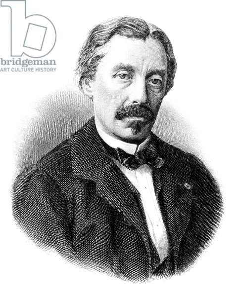 LÉON FOUCAULT (1819-1868) Jean Bernard Léon Foucault French physicist. Steel engraving, French, 19th century.