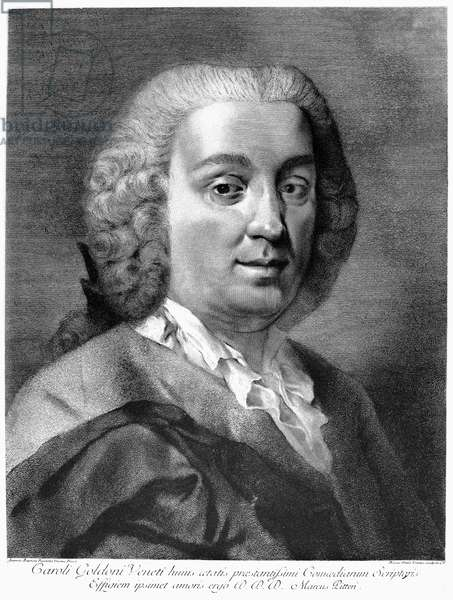 CARLO GOLDONI (1707-1793) Italian playwright. Line engraving, Italian, 18th century, after a painting by Giovanni Battista Piazzetta (1682-1854).
