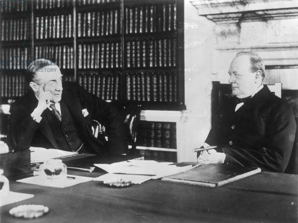 CHURCHILL WITH BALDWIN Sir Winston Churchill (1874-1965), English statesman. Pictured when Chancellor of the Exchequer, with British Prime Minister Stanley Baldwin at 10 Downing Street, London, c.1925.