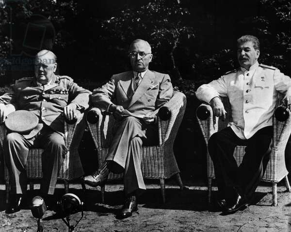 POTSDAM CONFERENCE, 1945 Allied leaders at the Potsdam Conference in Germany, July 1945. From left: British Prime Minister Winston Churchill, U.S. President Harry Truman, and Soviet Premier Joseph Stalin.