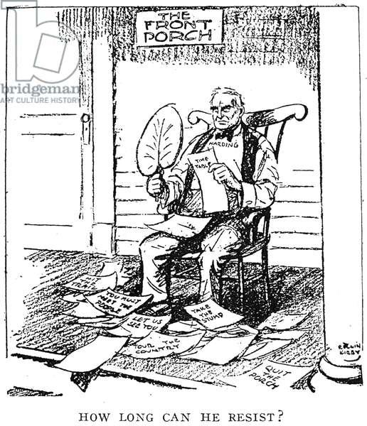 WARREN HARDING CARTOON 'How Long Can He Resist?' Cartoon featuring President Warren G. Harding by Rollin Kirby, 1920.