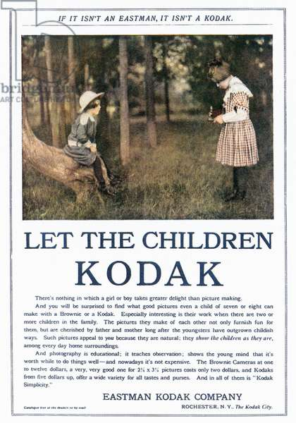 KODAK ADVERTISEMENT, 1906 'Let the children Kodak.' Advertisment for a Kodak hand-held camera, from an American magazine, 1906.