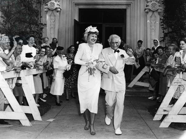BERNARR MACFADDEN (1868-1955). American physical culturist. Macfadden and his wife, Johnie Lee, photographed on their wedding day in Miami Beach, Florida, 23 April 1948.