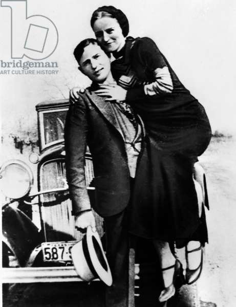 BONNIE AND CLYDE, 1933 American criminals Bonnie Parker and her partner, Clyde Barrow. Photograph, c.1933.