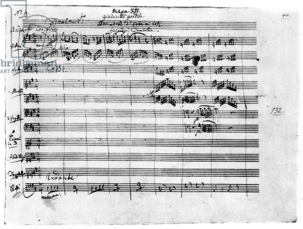 Autograph manuscript of 'Cosi Fan Tutte,' the final scene of Act I, 1789 (pen & ink on paper)