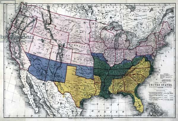MAP: CIVIL WAR, 1864 'Map of the United States, showing the territory in possession of the Federal Union, January, 1864.'