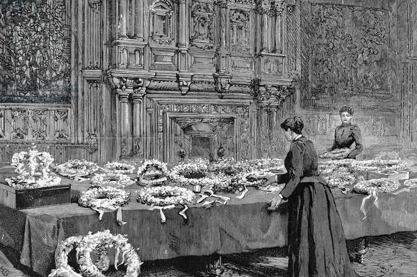 ALFRED TENNYSON (1809-1892) 1st Baron Tennyson. English poet. Wreaths laid in honor of the deceased poet laureate in the Jerusalem Chamber, Westminster Abbey. Wood engraving from an English newspaper of 1892.