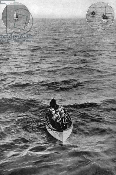 TITANIC: LIFEBOAT, 1912 'Titanic' survivors in a lifeboat approaching the 'Carpathia,' April 1912.