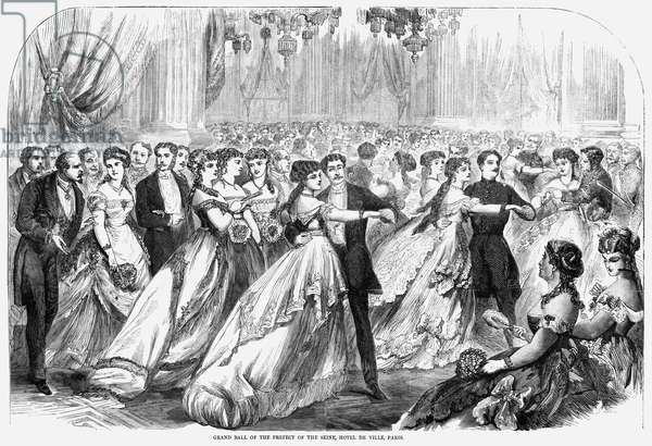 PARIS: GRAND BALL, 1867 Grand Ball held by Baron Georges-Eugène Haussmann at the Hotel de Ville in Paris, France. Wood engraving, American, 1867.