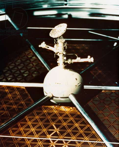 SPACE COLONY, 1976 Model for a docking station for a proposed space colony, designed by NASA. Photograph, 1976.