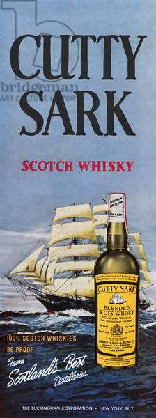 AD: CUTTY SARK, 1961 American advertisement for Cutty Sark Scotch Whiskey. Illustration, 1961.