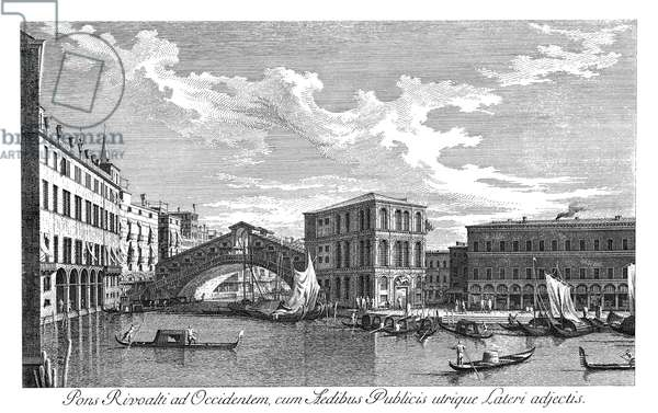 VENICE: GRAND CANAL, 1735 The Grand Canal in Venice, Italy. View of the Rialto Bridge, from the north. Engraving, 1735, by Antonio Visentini after Canaletto.