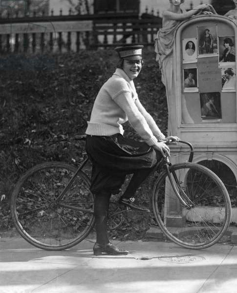 BICYCLE MESSENGER, 1921 Julia Obear, messenger for the National Woman's Party. Photograph, 1921.