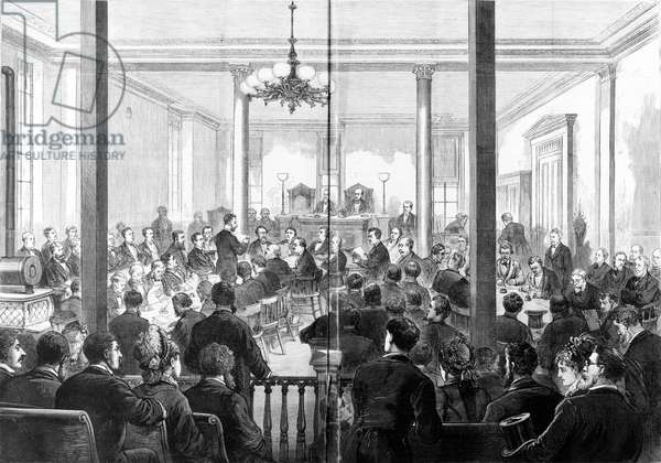 WHISKEY RING TRIAL, 1876 Opening of the trial United States vs. Orville E. Babcock in St. Louis, Missouri. Babcock, then Secretary to the President, Ulysses S. Grant, was put on trial for his alleged involvement in a scandal in which whiskey distillers bribed Treasury Department agents and evaded taxes. Engraving, 1876.