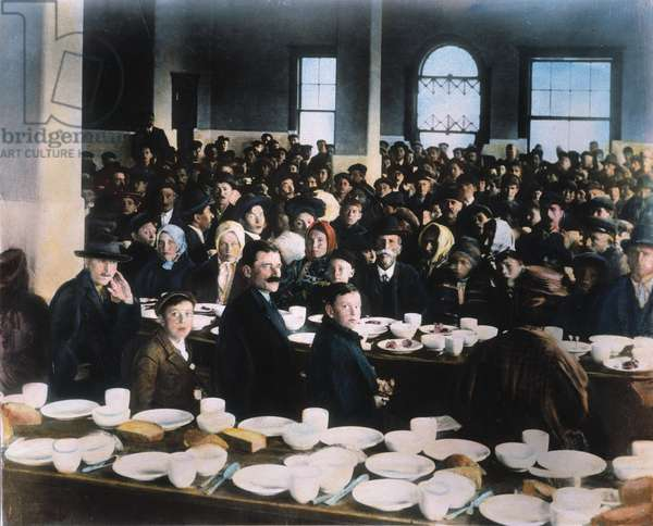 IMMIGRANTS: ELLIS ISLAND In the dining hall: oil over a photograph, c.1900.