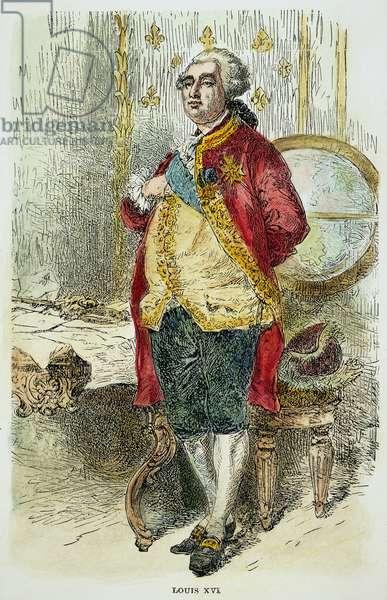LOUIS XVI OF FRANCE (1754-1793): 19th century wood engraving.