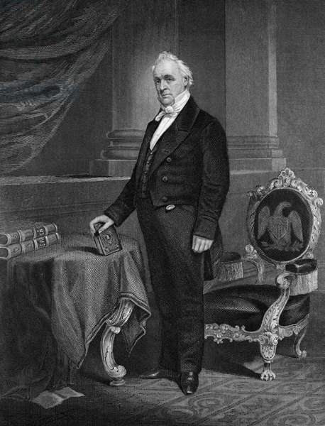 JAMES BUCHANAN (1791-1968) Fifteenth President of the United States. Steel engraving, 1864.