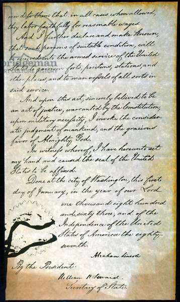 EMANCIPATION PROC., P. 4 Fourth and final page of Abraham Lincoln's holograph manuscript, 1863.