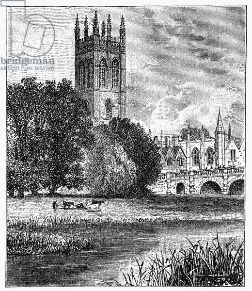 OXFORD: MAGDALEN COLLEGE View of Magdalen College from the Cherwell on the campus of Oxford University, Oxford, England. Wood engraving, English, c.1885.