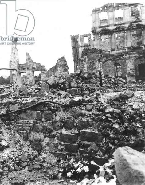 WORLD WAR II: DRESDEN A street in Dresden, Germany, following the Allied bombing raids during World War II, 1946.