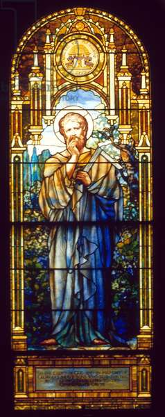 ST. THOMAS APOSTLE St. Thomas Apostle stained glass window by the Tiffany Studio, 1912, in Blandford Church, Petersburg, Virginia.