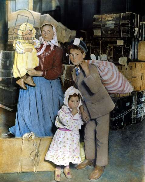 AN IMMIGRANT FAMILY at Ellis Island, c. 1905. Oil over a photograph.