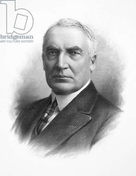 WARREN G. HARDING (1865-1923). 29th President of the United States. Steel engraving.