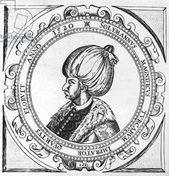 SULEIMAN THE MAGNIFICENT ( c.1494-1566). Sultan of the Ottoman Empire, 1520-1566. Woodcut, English, 1631.