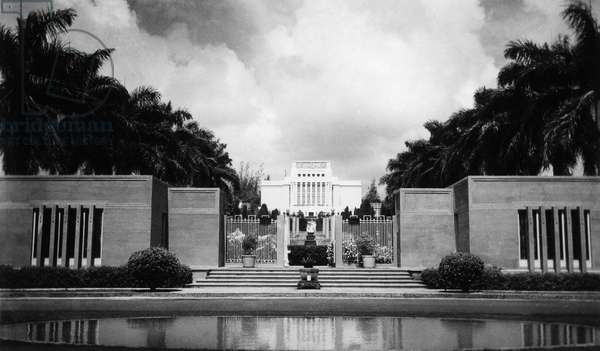 HAWAII: MORMON TEMPLE, 1938 The Laie Hawaii Temple of the Church of Jesus Christ of Latter-Day Saints in Honolulu, Hawaii. Photograph, 1938.