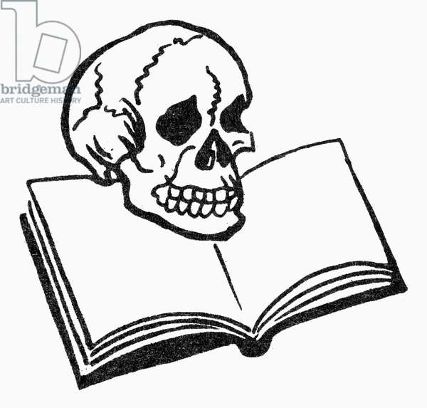SYMBOL: ANATOMY Skull and book, symbol of the study of anatomy.